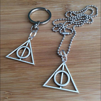 "Pair of Harry Potter Pendants on a 2.4mm, 24"" Ball Chain and a Key Ring"