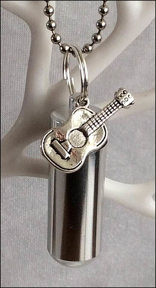 Cremation Jewellery Ashes Urn with Acoustic Guitar charm, pouch and fill kit