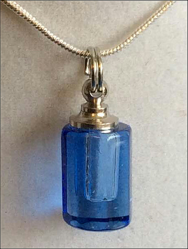 "Blue Barrel Crystal Cremation Jewellery Ashes Urn on a 24"" Silver Plated Chain"