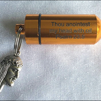 Deluxe Anointing Essential Oils Holder with larger inner vial and Jesus Charm