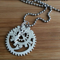 "Steampunk Pendant on a 24"" Stainless Steel Necklace or a Key Ring"