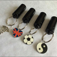 Black Secret Compartment Stash Tube-Pill Box Key Ring with Choice of Charms