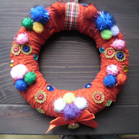 Medium sized, hand made red Christmas wreath