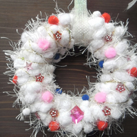 Hand made small white Christmas wreath