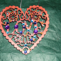 "Hand decorated ""love heart"" Christmas tree decorations"