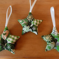 Three Christmas Patchwork Star Decorations