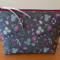 'Celtic Blessings' Floral Fabric Make Up Case Bag Cotton Cosmetics Purse Pouch