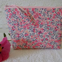 Liberty Floral Fabric Toiletries Cosmetics Bag, Large Make Up Case, Wash Bag