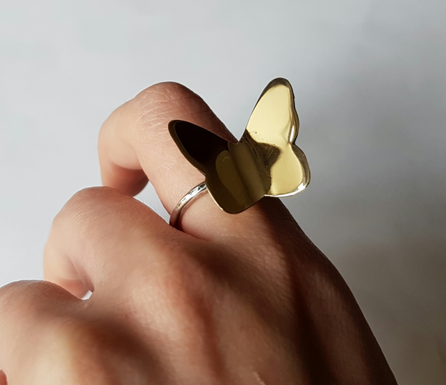 Brass butterfly ring on sterling silver 925 wire size O