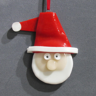 Fused Glass Santa Claus Tree Decoration
