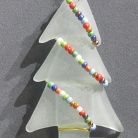 Beaded Fused Glass Tree Xmas Decoration
