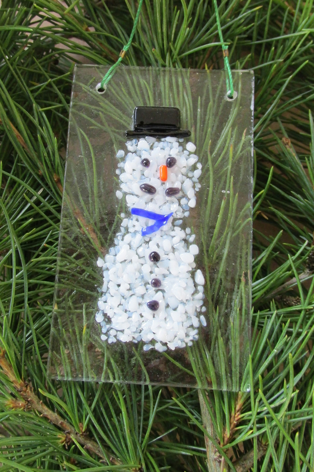 Fused Glass Snowman Xmas Tree Decoration