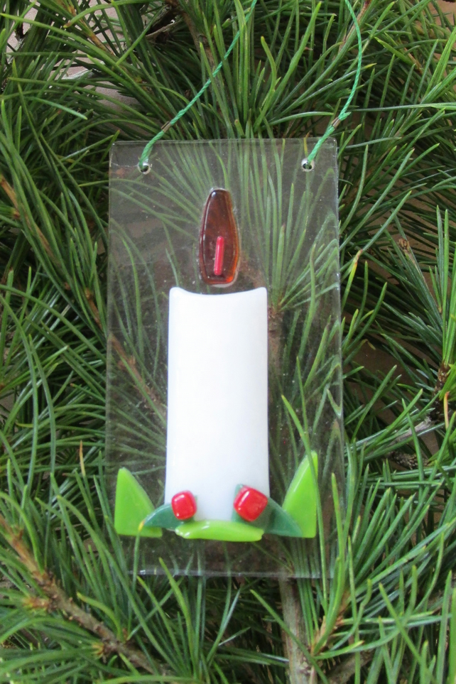 Fused Glass Xmas Candle Tree Decoration