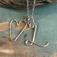 Silver initial and heart necklace