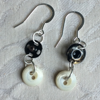 Mother of pearl button and press stud drop earring