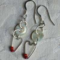 Mother of pearl button and heart drop earrings