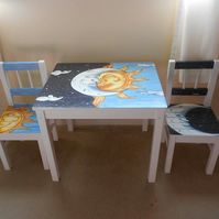 Sun and Moon kids table and chairs.
