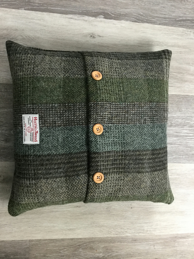 Handmade Harris Tweed button cushion, accent cushion, home decor, gift