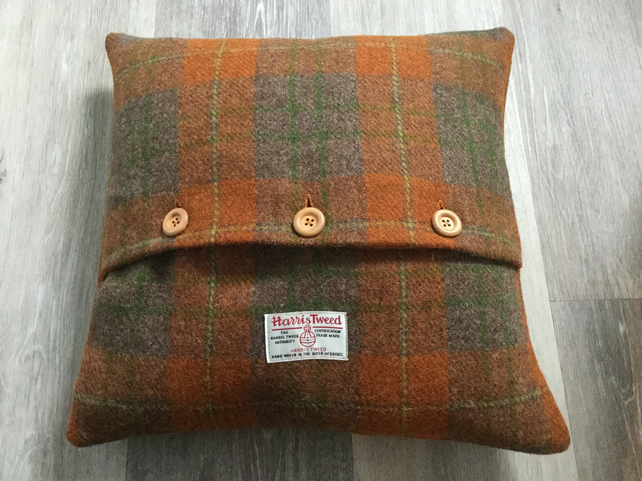 Handmade Harris Tweed accent cushion, home decor, gift