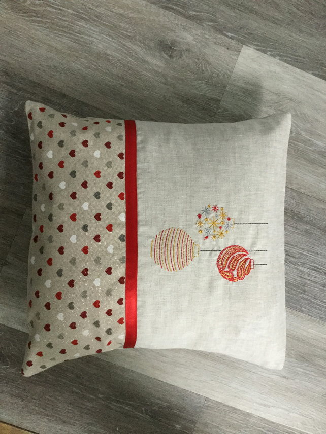 Handmade machine embroidered Christmas bauble cushion, home decor, gift