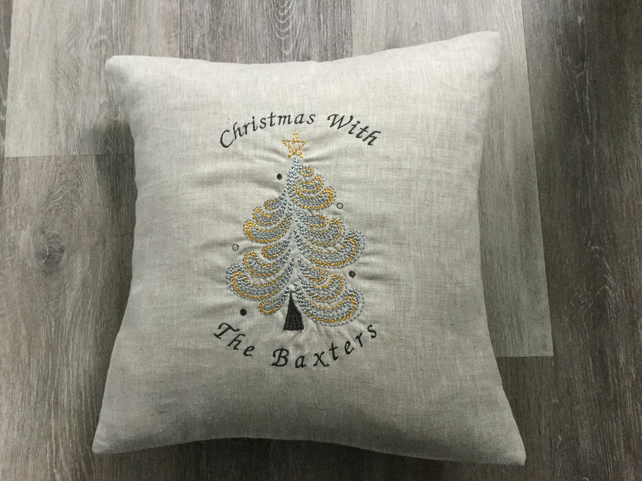 Handmade personalised Christmas Tree cushion, home decor, gift