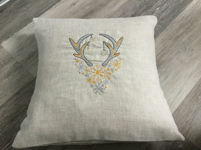 Handmade Stags head Christmas cushion, machine embroidered, gift, Christmas deco