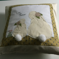 Handmade Rabbit appliqué patchwork cushion, home decor, accent cushion or gift