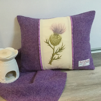 Harris Tweed cushion with hand painted thistle panel, accent cushion