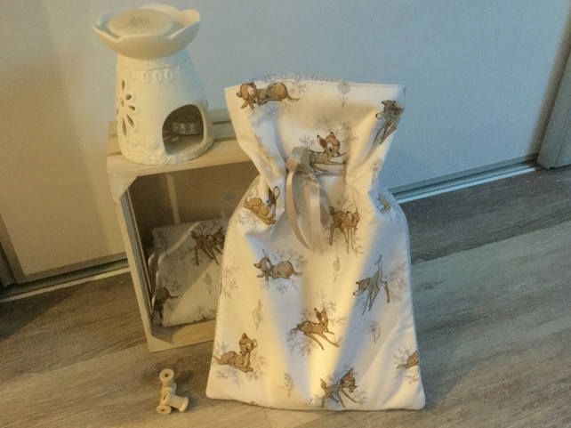 Handmade Bambi print hot water bottle cover, gift