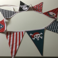 Handmade pirate bunting, child's bedroom decor, playroom decor, wall handing