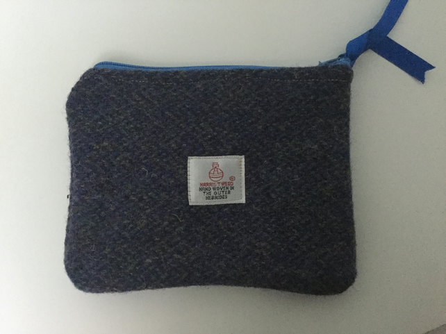 Handmade Harris Tweed coin purse, small makeup bag, gift, present