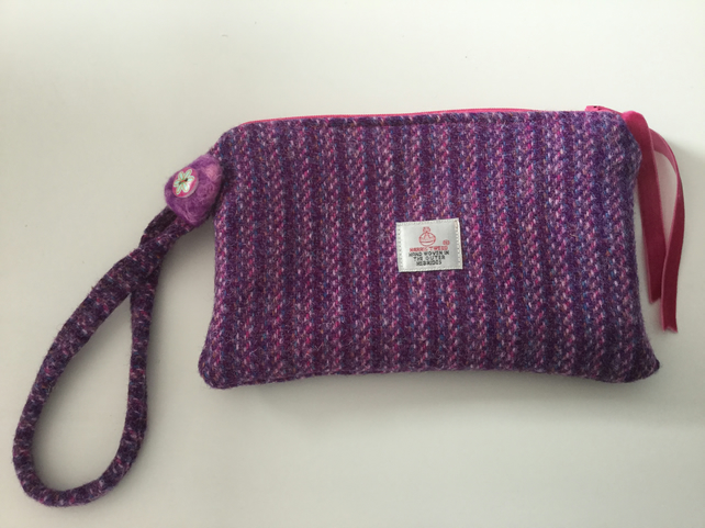 8279e0b0b9 Handmade Harris Tweed wristlet bag