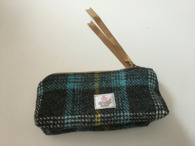 Handmade Harris Tweed pencil case, makeup bag, gift
