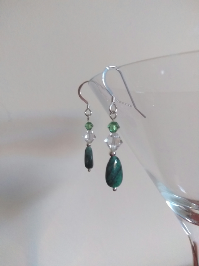 Emerald and Swarovski crystal Sterling silver earrings.