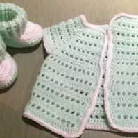 Crochet Baby Cardigan and Booties Set