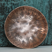 Copper Trinket Dish Hand Hammered on Isles of Scilly Letter Punched Mermaid Poem