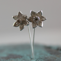 Sterling Silver Daffodil Narcissi Drop Earrings. Handmade on the Isles of Scilly