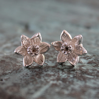 Sterling Silver Daffodil Narcissi Stud Earrings Hand Made on the Isles of Scilly