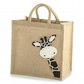 Cute Peekaboo Giraffe Jute Hessian Burlap Medium Animal Tote Shopping Bag