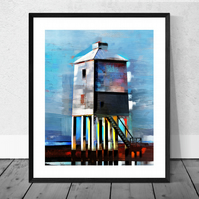 The Lighthouse, Burnham on Sea - Signed Giclee Print in 12 x 10 inch Mount