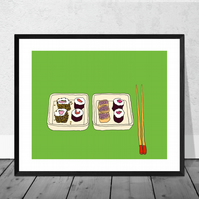 Two Plates of Sushi Illustration Print in 12 x 10 inch Mount
