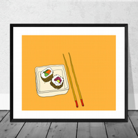 Sushi Illustration Print in 12 x 10 inch Mount