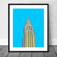 The Chrysler Building Illustration Print in 12 x 10 inch Mount