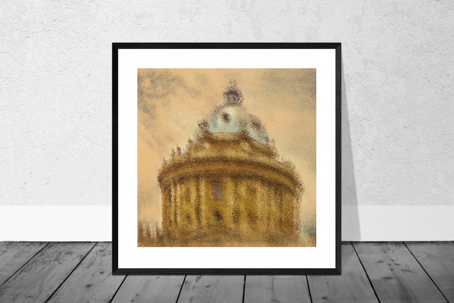 Impressionist Art Print (Gold)  - The Radcliffe Camera in Oxford 10 x 10 Mount