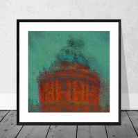 Impressionist Art Print (Green)  - The Radcliffe Camera in Oxford 10 x 10 Mount