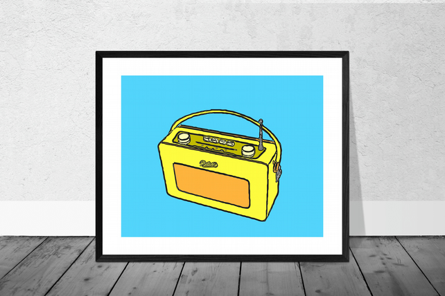 Yellow Vintage Radio Print in 12 x 10 inch Mount