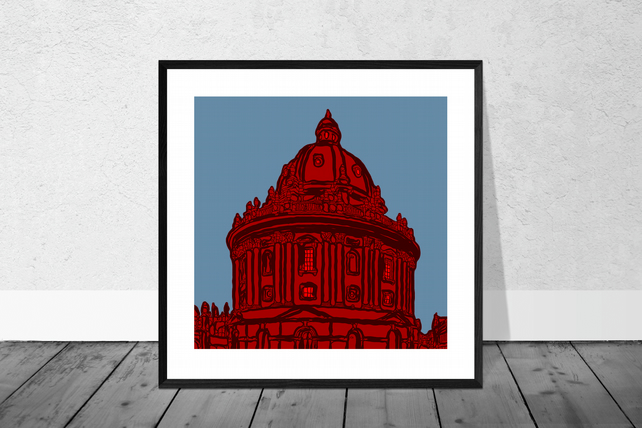 The Radcliffe Camera In Red Print in 10 x 10 inch Mount