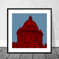 The Radcliffe Camera In Red - Illustration Print in 10 x 10 inch Mount