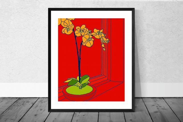 Orange Orchid Print in 12 x 10 inch Mount