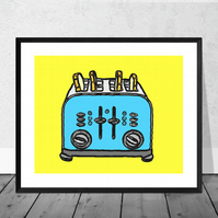 Blue Toaster Print in 12 x 10 inch Mount
